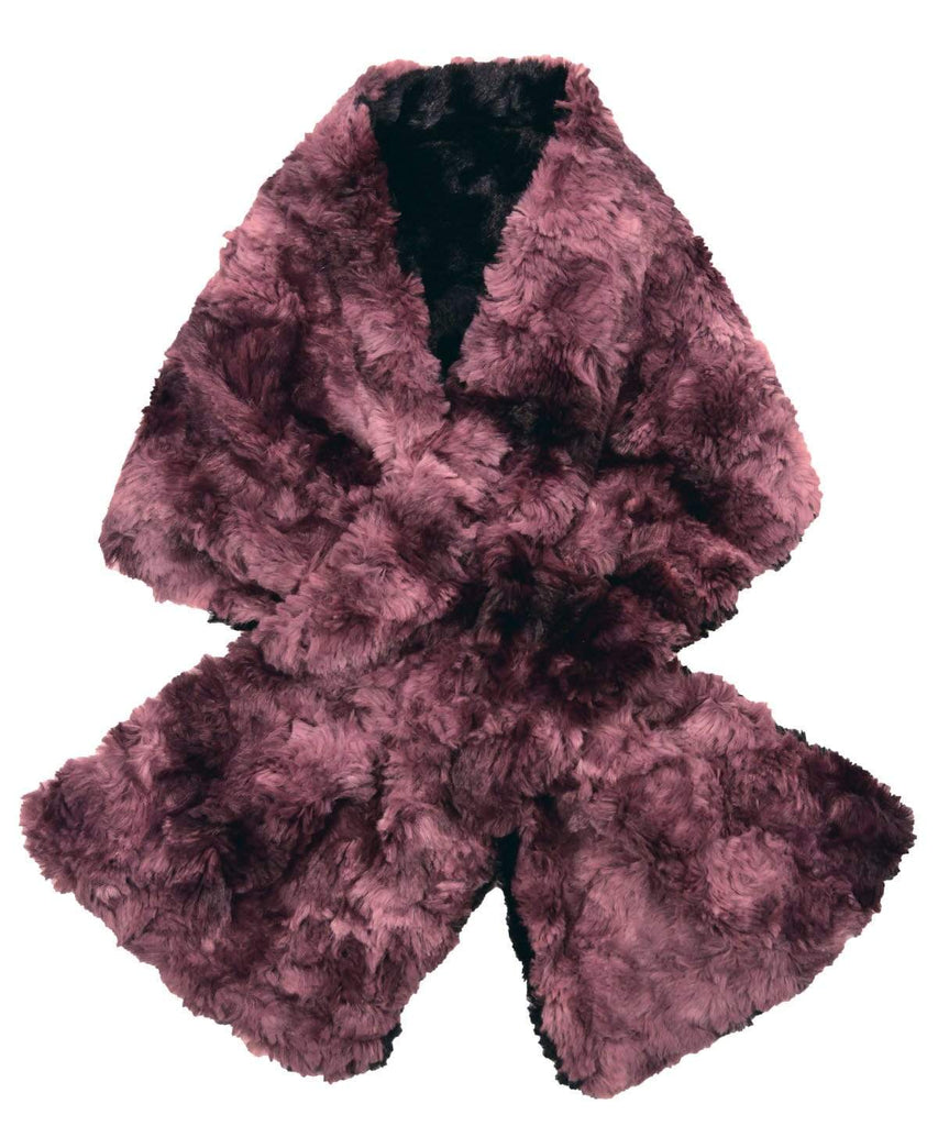 Pandemonium Millinery Pull-Thru Scarf - Luxury Faux Fur in Highland (Meadow - 4 LEFT!) Thistle / Black Scarves