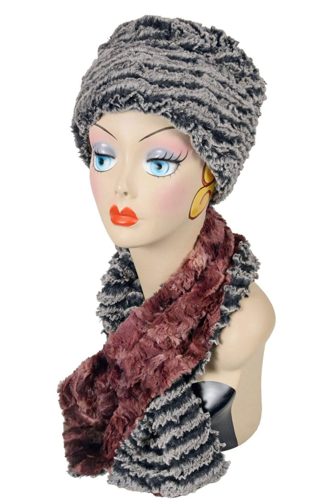 Pandemonium Millinery Pull-Thru Scarf - Luxury Faux Fur in Highland (Meadow - 4 LEFT!) Thistle / Desert Sand Charcoal Scarves