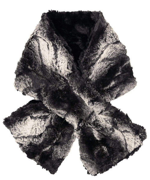 Pandemonium Millinery Pull-Thru Scarf - Luxury Faux Fur in Honey Badger Honey Badger / Cuddly Black Scarves