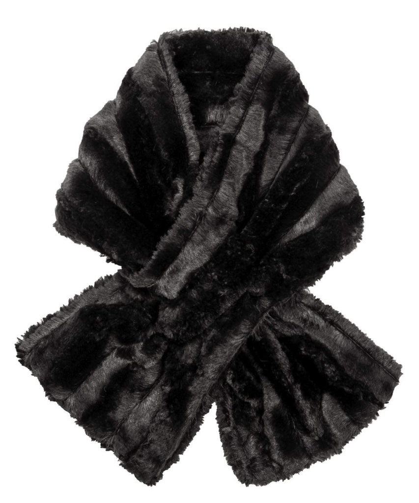 Pandemonium Millinery Pull-Thru Scarf - Minky Faux Fur (MAUVE - ONE SOLID / ONE TWO-TONE LEFT!) Minky Black - Solid Scarves