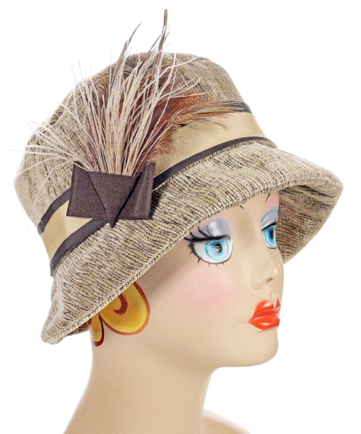 Samantha Hat Style - Bongo in Beige Upholstery (One Medium / One Large Left!)
