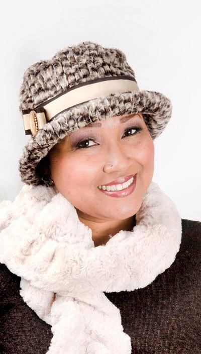 Samantha Hat Style - Cobblestone in Brown/Cream Faux Fur (One Medium / One Large Left!)