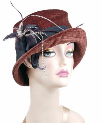 Samantha Hat Style - Cohen in Chocolate Upholstery (Large Only) Medium / Band - Black / Brooch - Black/Grizzly Feather Hats Pandemonium Millinery