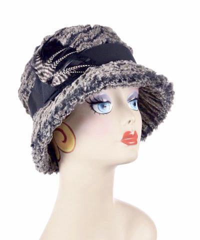 Samantha Hat Style - Desert Sand Faux Fur in Charcoal (One Medium / One Large Left!)