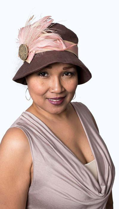 Samantha Hat Style - Linen in Chocolate with Assorted Trims (One Medium / One Large Left!) Medium / 4-17 & F16-01 & B15-1LILAC Hats Pandemonium Millinery