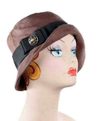 Pandemonium Millinery Samantha Hat Style - Linen in Chocolate with Assorted Trims (One Medium / One Large Left!) Medium / Grosgrain Band & Bow - Black / Button - Bronze Hats