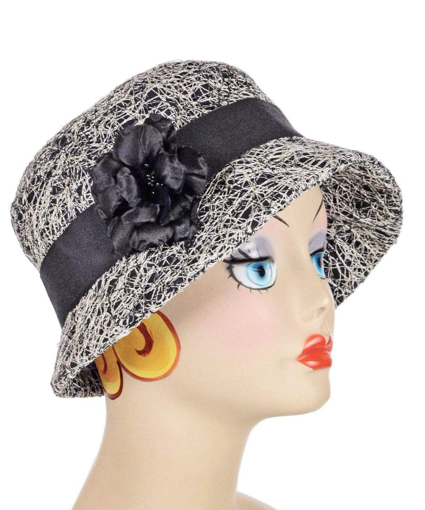 Pandemonium Millinery Samantha Hat Style - Luna in Black (One Medium Left!) Medium / Grosgrain Band - Black / Flower Trim - Black Hats
