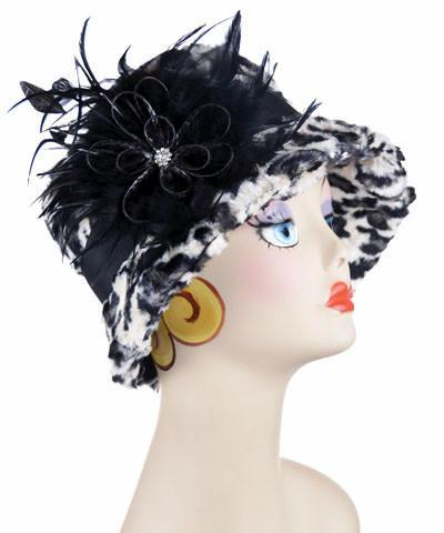 Samantha Hat Style - Luxury Faux Fur in White Jaguar (One Medium / One Large Left!) Medium / Band - Black / Brooch - Black Feather Hats Pandemonium Millinery