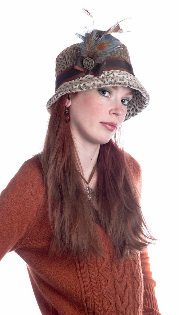 Samantha Hat Style - Rossini Upholstery (One Medium / One Large Left!) Medium / Band - Rust/Chocolate / Trim Steel/Pheasant Feather Hats Pandemonium Millinery