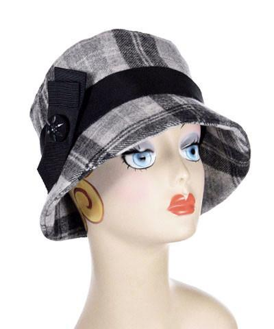 Samantha Hat Style - Wool Plaid in Twilight Medium / Band - Black / Trim - Black Glass Button Hats Pandemonium Millinery