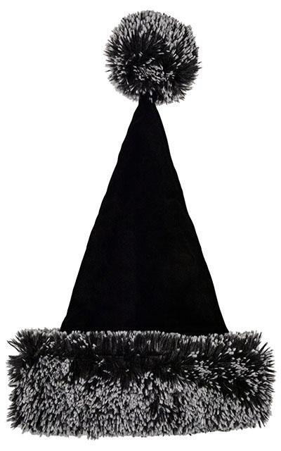 Santa Hat Style - Black Velvet with Silver Tipped Fox Faux Fur in Black Adult / Silver Tipped Fox Black Hats Pandemonium Millinery