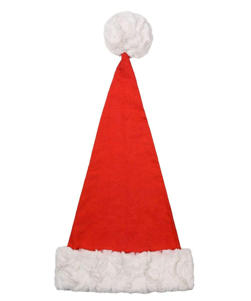 Pandemonium Millinery Santa Hat Style - Flannel in Red with Cuddly Faux Fur in Ivory Adult / Cuddly Ivory Hats