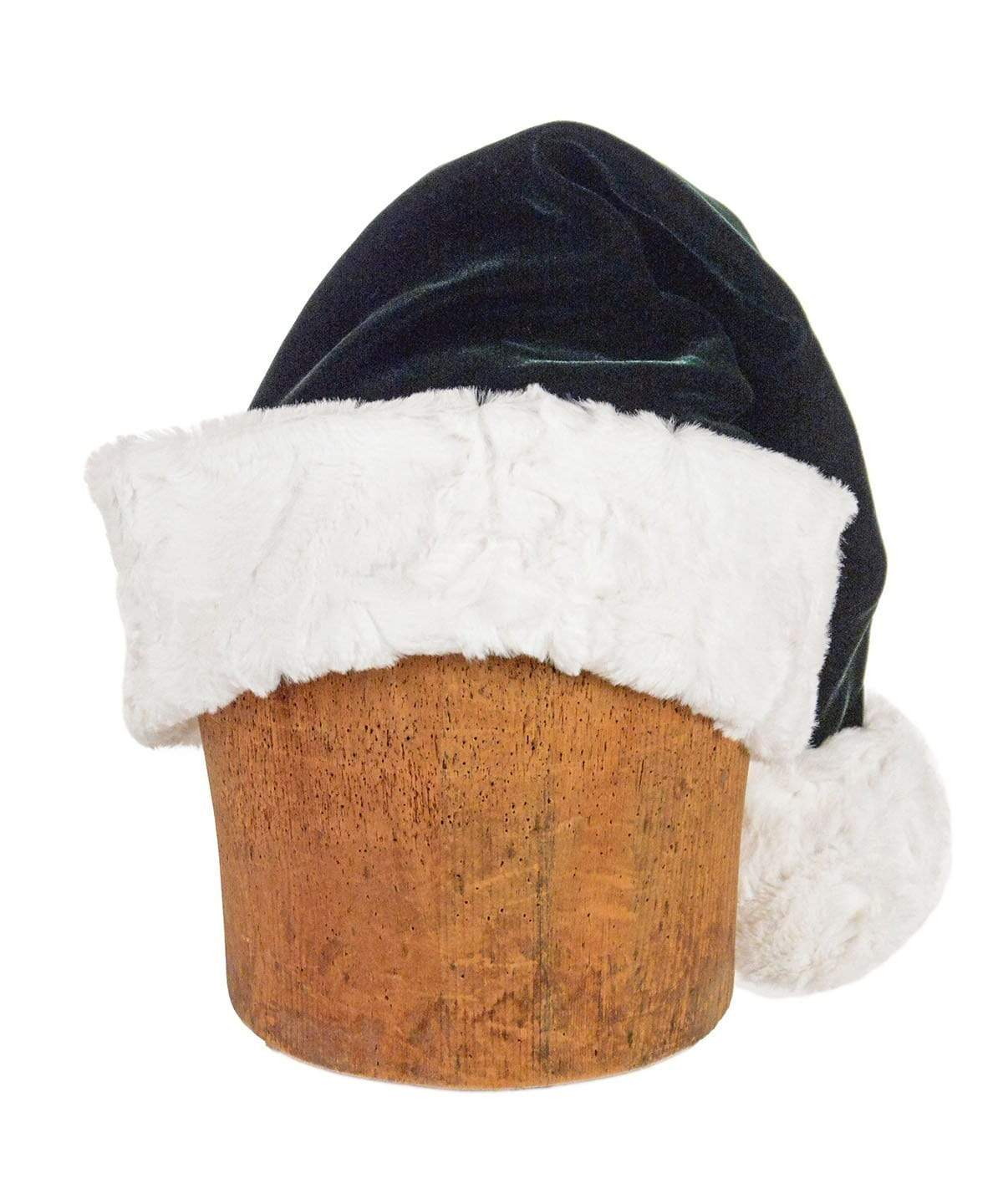 Santa Hat Style - Forest Green Velvet with Cuddly Faux Fur in Ivory