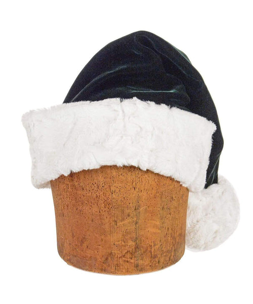 Pandemonium Millinery Santa Hat Style - Forest Green Velvet with Cuddly Faux Fur in Ivory Hats