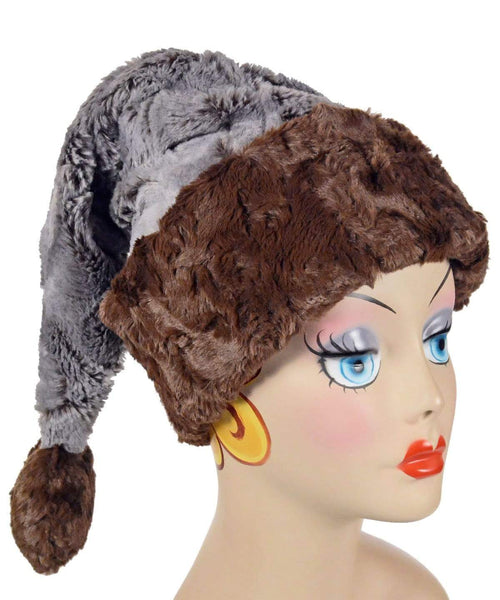 Pandemonium Millinery Santa Hat Style - Giant's Causeway Faux Fur with Cuddly Faux Fur in Chocolate Adult / Cuddly Chocolate Hats