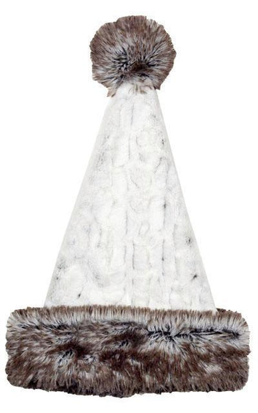 Santa Hat Style - Luxury Faux Fur in Winters Frost with Arctic Fox Adult / Arctic Fox Hats Pandemonium Millinery