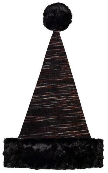 Santa Hat Style - Sweet Stripes with Cuddly Faux Fur in Black Adult / Cuddly Black / Cherry Cordial Hats Pandemonium Millinery