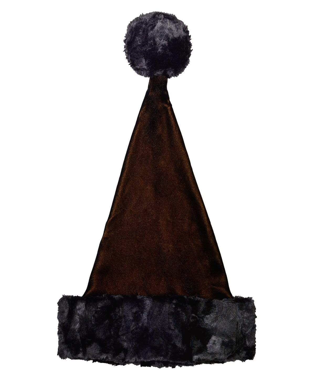 Santa's Hat Style - Black/Gold Velvet with Cuddly Faux Fur in Black