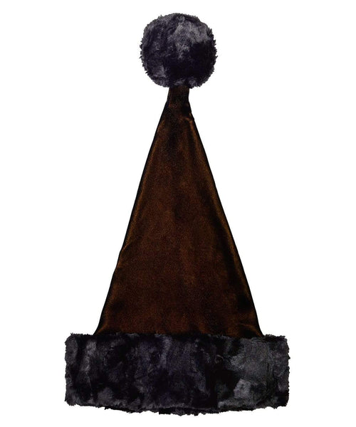 Pandemonium Millinery Santa's Hat Style - Black/Gold Velvet with Cuddly Faux Fur in Black Adult / Cuddly Black Hats