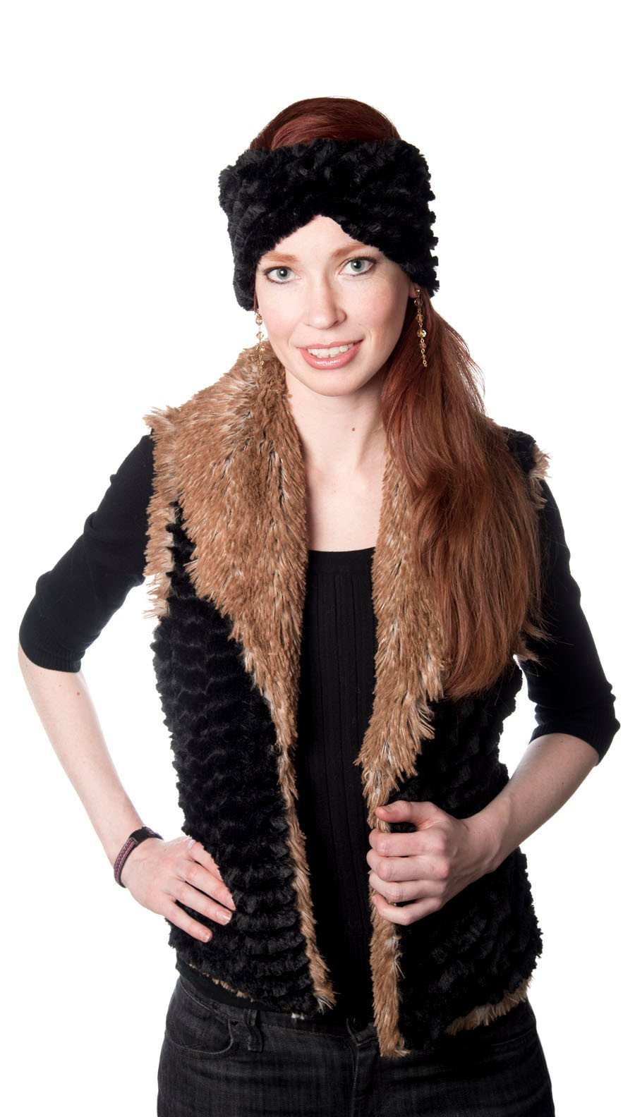 Shawl Collar Vest - Desert Sand Faux Fur with Cuddly Fur in Black