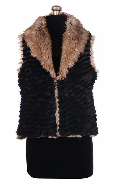 Shawl Collar Vest - Desert Sand in Midnight Faux Fur with Red Fox