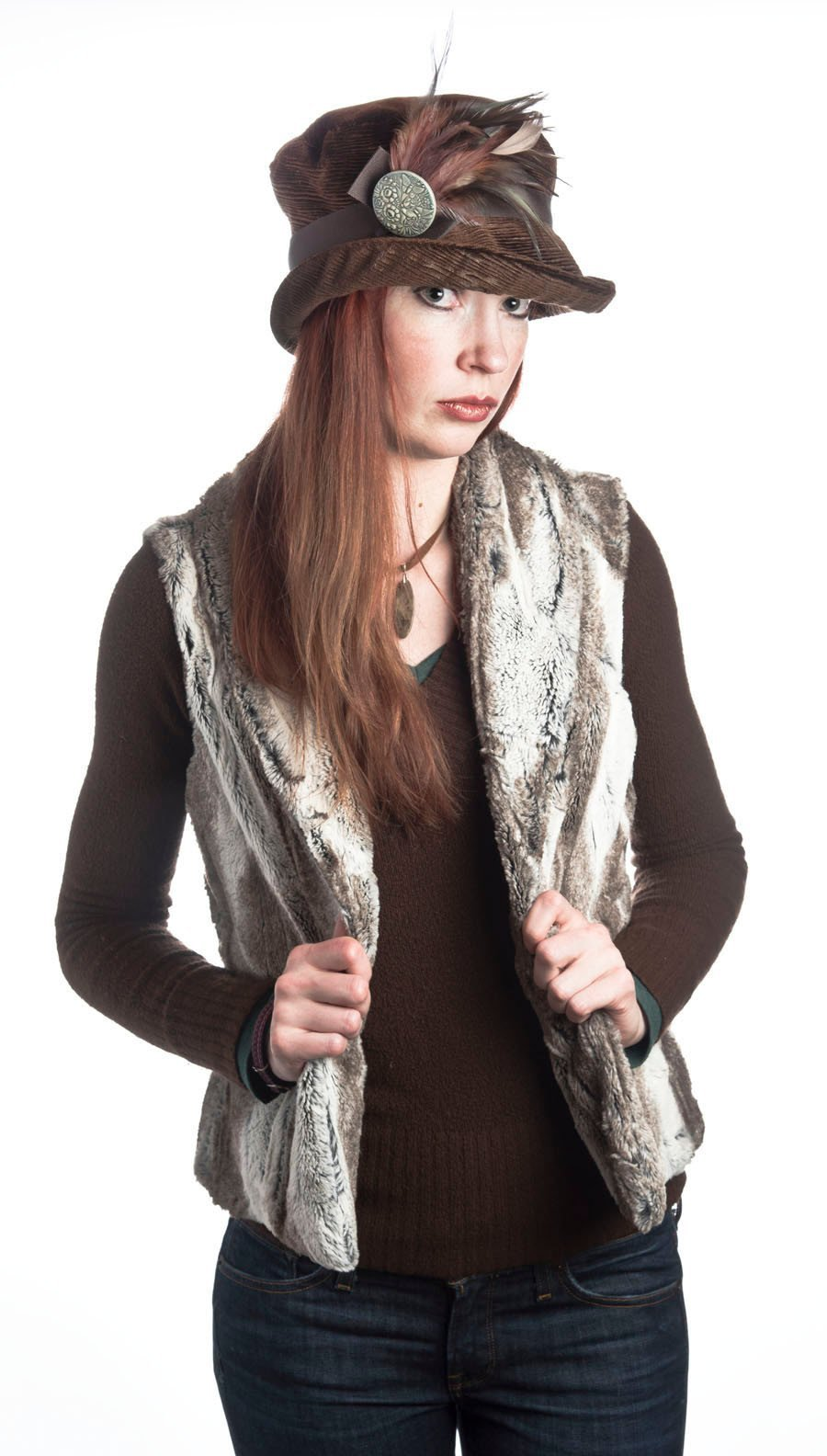 Shawl Collar Vest - Luxury Faux Fur in Birch with Assorted Faux Fur (Gray Lined - Limited Availability for Season)