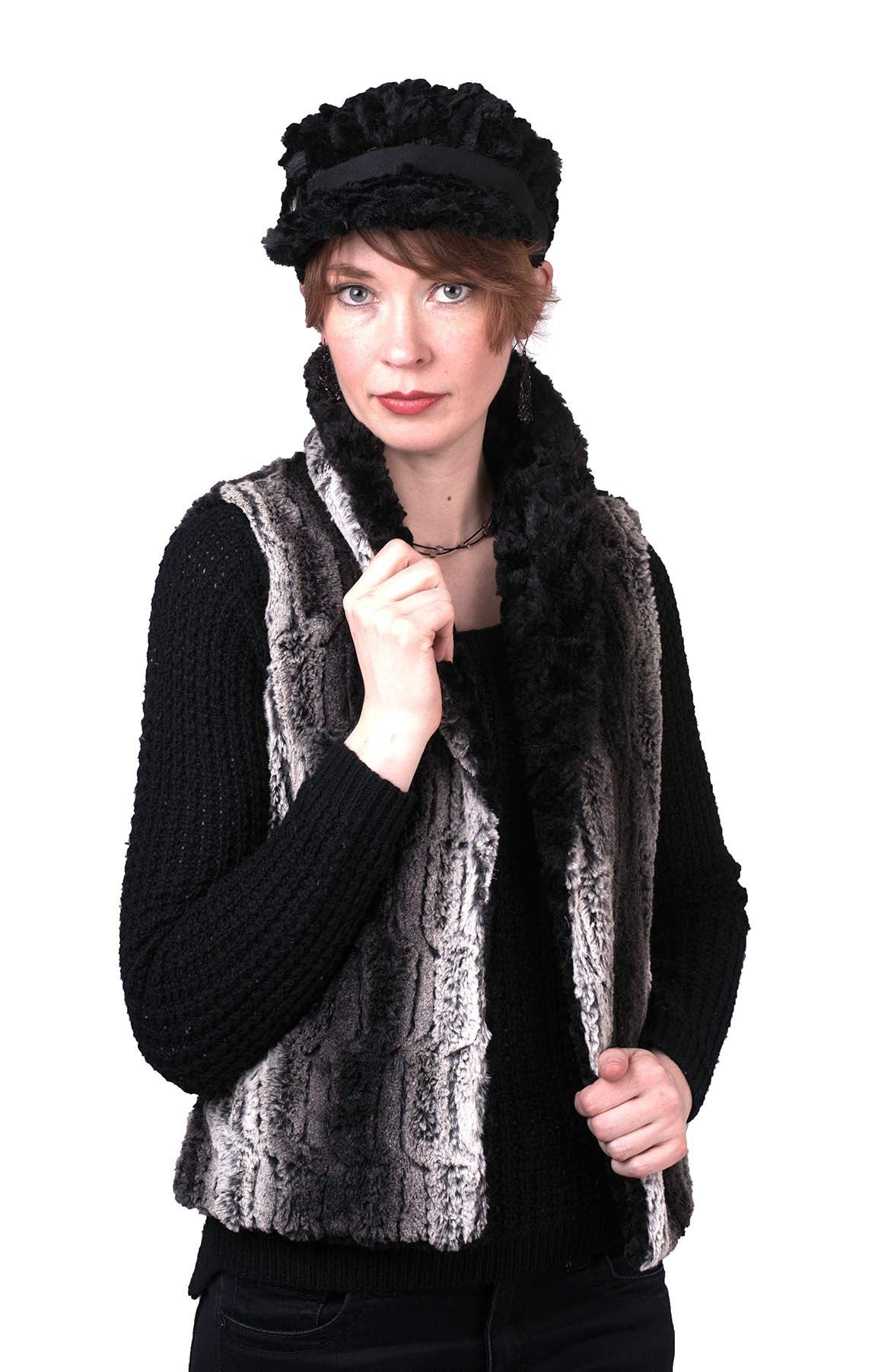 Shawl Collar Vest - Luxury Faux Fur in Chinchilla Brown with Assorted Faux Fur X-Small / Chinchilla Brown / Pearl / Regular Outerwear Pandemonium Millinery