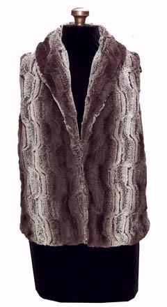 Shawl Collar Vest - Luxury Faux Fur in Chinchilla Brown with Assorted Faux Fur X-Small / Chinchilla Brown - Solid / Regular Outerwear Pandemonium Millinery