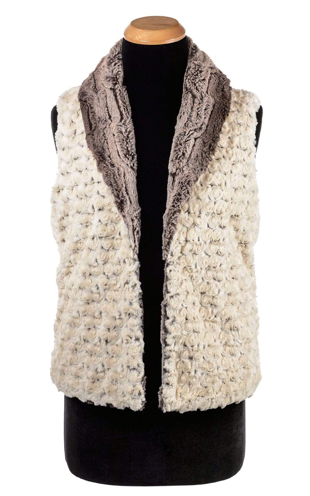 Shawl Collar Vest - Luxury Faux Fur in Chinchilla Brown with Rosebud Faux Fur in Brown (Only One Small Left)