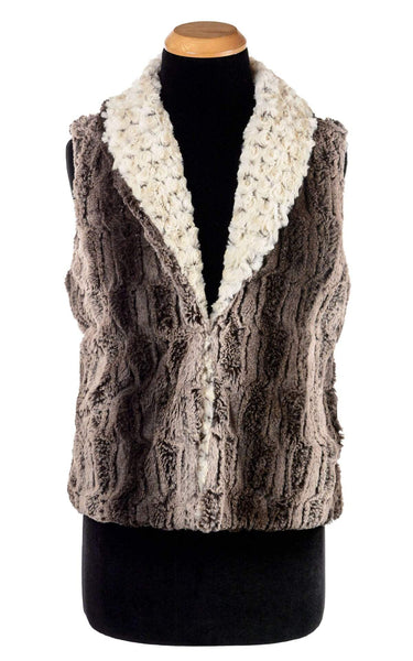 Pandemonium Millinery Shawl Collar Vest - Luxury Faux Fur in Chinchilla Brown with Rosebud Faux Fur in Brown (Only One Small Left) Small / Chinchilla Brown / Rosebud Brown / Regular Outerwear