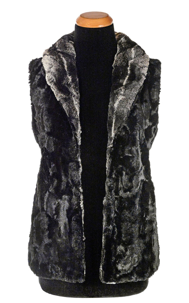 Shawl Collar Vest - Luxury Faux Fur in Honey Badger with Cuddly Fur in Black X-Small / Honey Badger / Black / Regular Outerwear Pandemonium Millinery