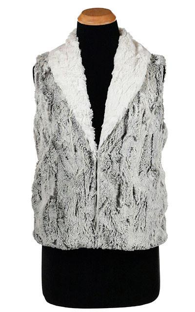 Shawl Collar Vest - Luxury Faux Fur in Khaki with Cuddly Fur in Ivory