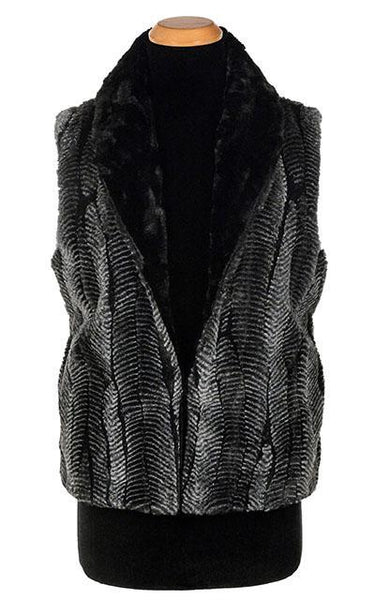 Shawl Collar Vest - Luxury Faux Fur in Nightshade with Cuddly Fur in Black X-Small / Nightshade / Black / Regular Outerwear Pandemonium Millinery