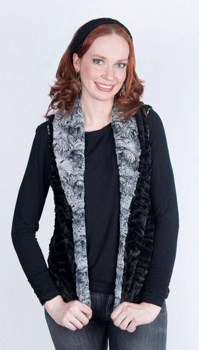 Shawl Collar Vest - Luxury Faux Fur in Swirl with Cuddly Fur (Limited Availability) X-Small / Licorice Swirl / Black / Regular Outerwear Pandemonium Millinery