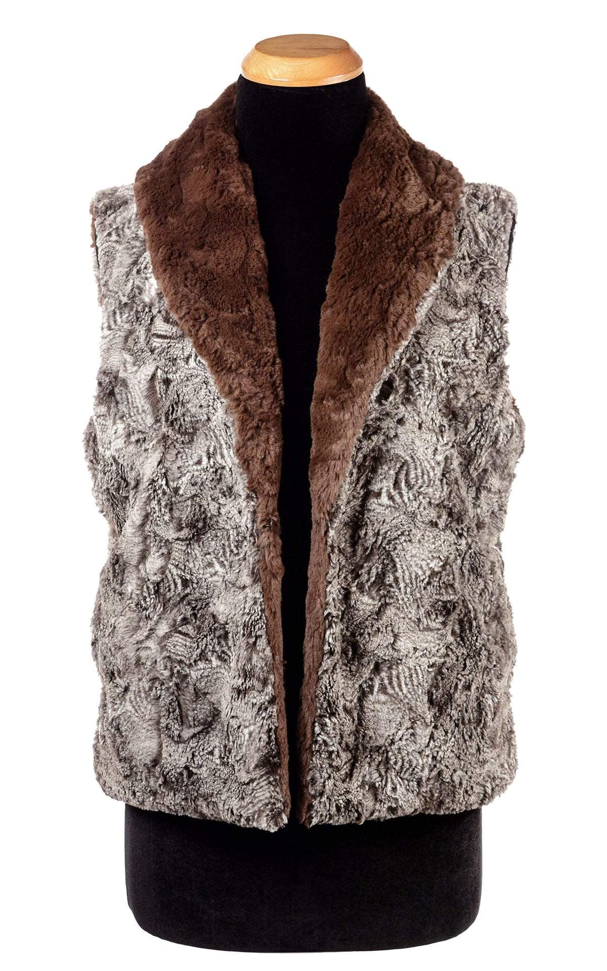 Shawl Collar Vest - Luxury Faux Fur in Praline Swirl with Cuddly Fur (One Medium Praline Left!)