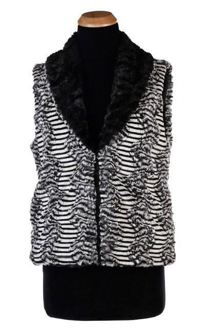 Shawl Collar Vest - Luxury Faux Fur in Tipsy Zebra with Cuddly Fur in Black (1 MEDIUM LEFT!)