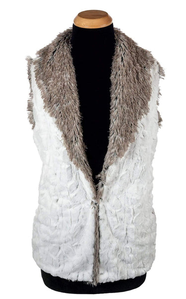 Pandemonium Millinery Shawl Collar Vest - Luxury Faux Fur in Winters Frost with Arctic Fox X-Small / Winters Frost / Arctic Fox / Regular Outerwear