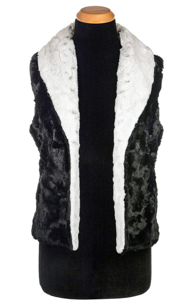 Pandemonium Millinery Shawl Collar Vest - Luxury Faux Fur in Winters Frost with Cuddly Fur in Black X-Small / Winters Frost / Black / Regular Outerwear