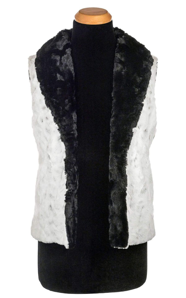 Pandemonium Millinery Shawl Collar Vest - Luxury Faux Fur in Winters Frost with Cuddly Fur in Black Outerwear
