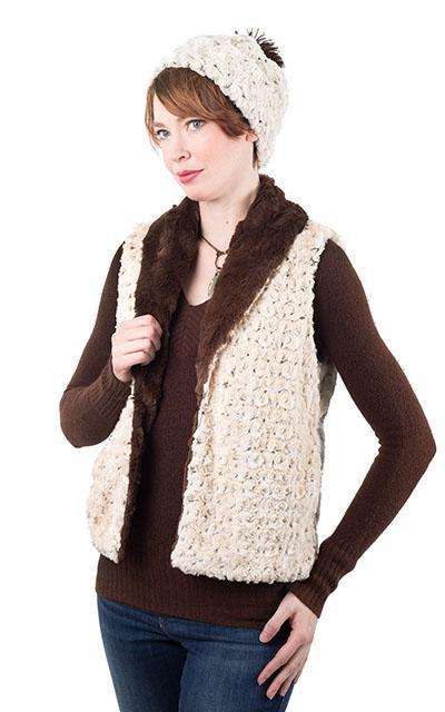 Shawl Collar Vest - Rosebud Faux Fur with Cuddly Fur (Rosebud Black - Sold Out for Season) X-Small / Rosebud Black / Black / Regular Outerwear Pandemonium Millinery