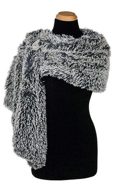 Pandemonium Millinery Stole - Fox Faux Fur Silver Tipped Fox in Blue Steel / Brooch A-33 Scarves
