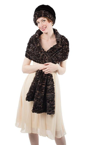 Stole - Luxury Faux Fur in Vintage Rose Vintage Rose Scarves Pandemonium Millinery