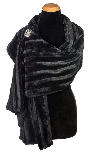Pandemonium Millinery Stole - Minky Faux Fur in Black Minky Black / Brooch A-18 Scarves