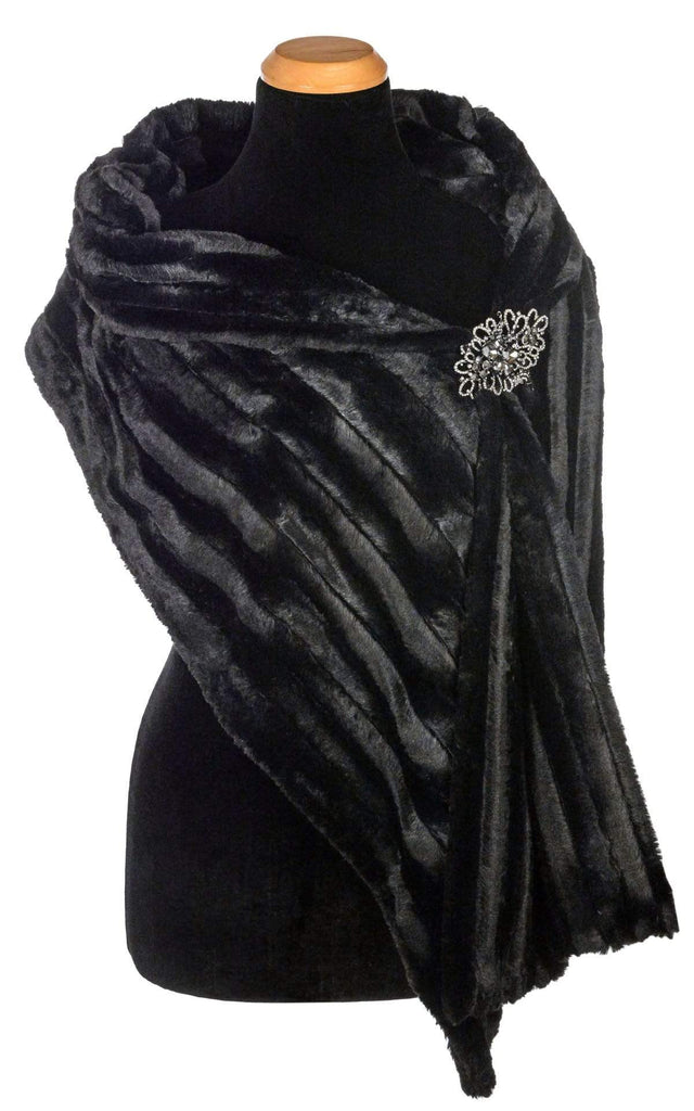 Pandemonium Millinery Stole - Minky Faux Fur in Black Scarves