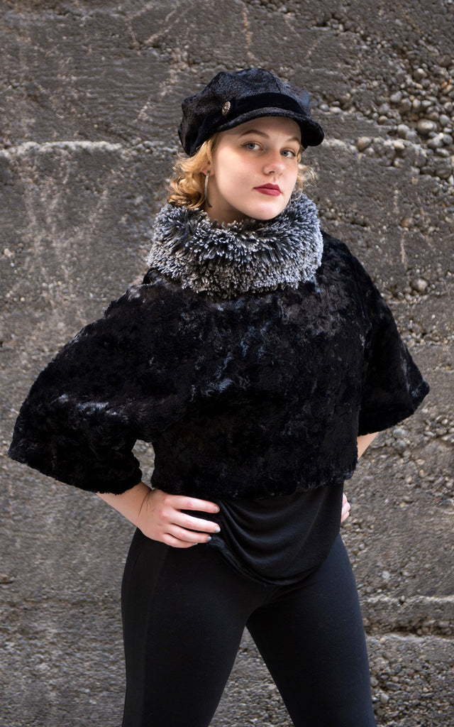 Sweater Top - Cuddly Faux Fur in Black with Fox Collar Silver Tipped Fox in Black / Small / Medium / Regular Outerwear Pandemonium Millinery