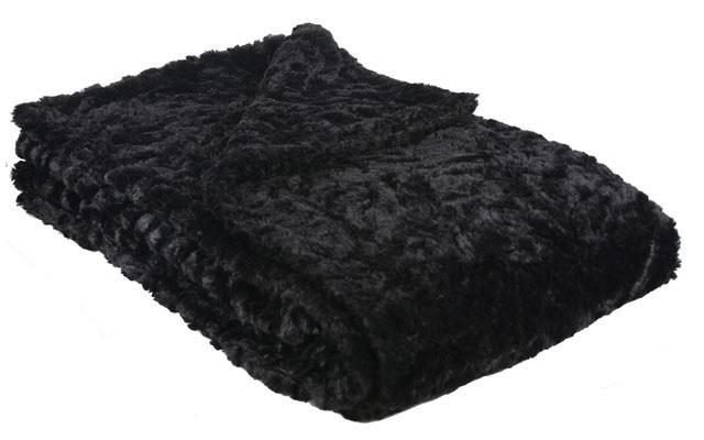 "Throw - Cuddly Faux Fur (Stone - SOLD OUT) Standard 58"" x 45"" / Black Home decor Pandemonium Millinery"