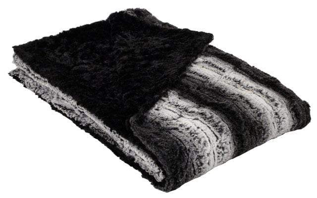 Throw Luxury Faux Fur in Smoldering Sequoia with Cuddly Black Faux Fur by Pandemonium
