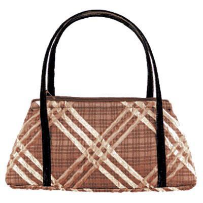 Valencia Style Handbag - Copper Plaid Upholstery Copper Plaid / Velvet Handbag Pandemonium Millinery