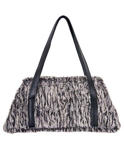 Valencia Style Handbag - Luxury Faux Fur in Black Walnut Leather / Black Walnut Handbag Pandemonium Millinery