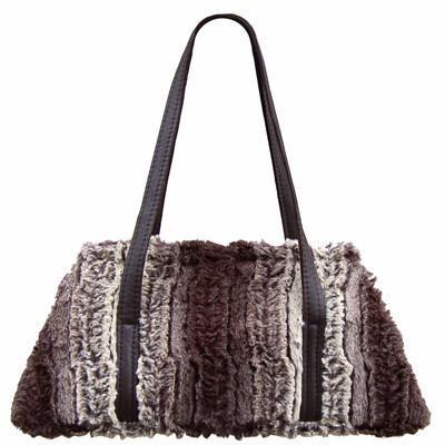 Valencia Style Handbag - Luxury Faux Fur in Chinchilla Brown Chinchilla Brown / Leather Handbag Pandemonium Millinery
